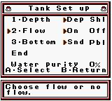Legend of the River King GB Game Boy Color Setting the fish tank up in raising mode