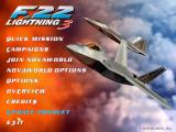 F-22 Lightning 3 Windows The game's menu screen. The 'Update Product' option no longer seems to work
