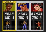 Streets of Rage Genesis Character select screen