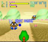 Yoshi's Safari SNES Cute green mountains, angry killer giant... err... guys