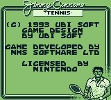 Jimmy Connors Tennis Game Boy Copyright notice