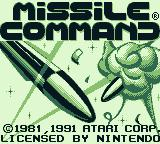 Missile Command Game Boy Title screen