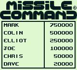 Missile Command Game Boy High scores list