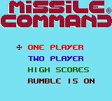 Missile Command Game Boy Color Main menu