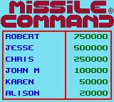 Missile Command Game Boy Color High scores list
