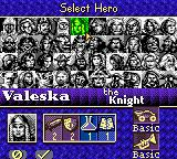 Heroes of Might and Magic II Game Boy Color Pick your hero for the campaign