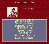 Heroes of Might and Magic II Game Boy Color Creature info