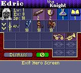 Heroes of Might and Magic II Game Boy Color Hero info dialog