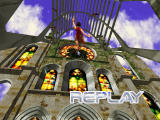 Dead or Alive 2 Dreamcast KO replay cut scene kicking Lei-Fang out the stained glass window