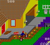 Paperboy Game Gear Riding over garden