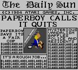 Paperboy Game Gear That's it! I quit!