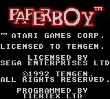 Paperboy Game Gear Credits