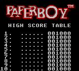 Paperboy Game Gear high Score table