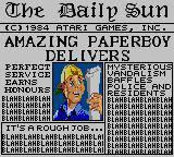Paperboy Game Gear Congrats