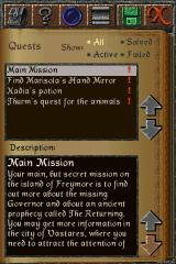 The Quest iPhone Quest Log (vertical mode)