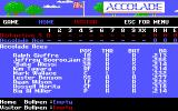 HardBall II DOS Player Select (EGA)