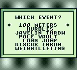 Track Meet Game Boy All the events can be practiced