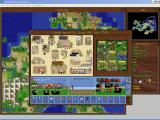 Sid Meier's Colonization Windows 3.x Town Screen - Strengthen your town by building new buildings, training new colonist skills and producing new world goods for profit