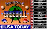 MicroLeague Baseball IV DOS Main menu