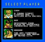 Mighty Final Fight NES Character Selection