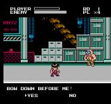Mighty Final Fight NES Bow Down Before Me, (Y)es, (N)o?