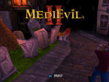 MediEvil II PlayStation Title Screen: Plays through a fly-by of a graveyard.