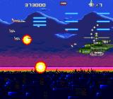 Hawk F-123 TurboGrafx CD The boss of the level is easily defeated with my fully powered blue weapon, missiles, fireballs, and wingmen