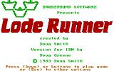 Lode Runner PC Booter Title Screen / Alternate version