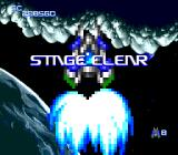 Nexzr TurboGrafx CD Stage Clear message features an enlarged sprite of the ship