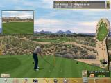 Jack Nicklaus 6: Golden Bear Challenge Windows Moving the cursor to the bottom of the screen reveals the menu bar. The Aiming tool, that's the curved red arrow next to the black & yellow pole, shows the flight of the ball and where it should land