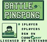 Battle Pingpong Game Boy Title screen and main menu