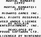 Mortal Kombat & Mortal Kombat II Game Boy Title Screen