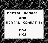 Mortal Kombat & Mortal Kombat II Game Boy Game Selection Screen