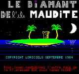 Le Diamant de l'Île Maudite Oric Title Screen and Copyright Information (in French)