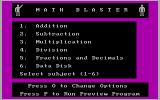Math Blaster! DOS The main menu (CGA)