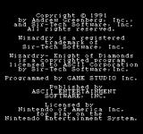 Wizardry: Knight of Diamonds - The Second Scenario NES Copyright Information
