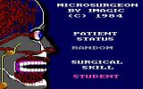 Microsurgeon PC Booter Title screen and game options (PCjr)