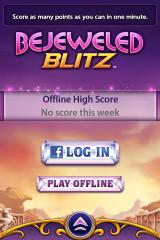 Bejeweled: Blitz iPhone Main menu, not logged into Facebook.