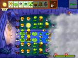 Plants vs. Zombies iPad On this level fog makes part of the screen tough to see; but you can temporarily remove it with certain types of plants