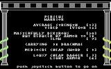 The Return of Heracles Commodore 64 Perseus' statistics screen.