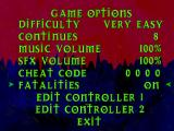 War Gods PlayStation Options screen. If you turn the fatalities option on, the screen will turns bloody