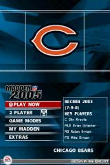 Madden NFL 2005 Nintendo DS The Main Menu.