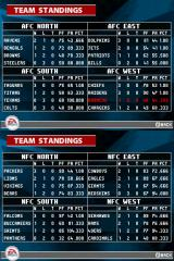 Madden NFL 2005 Nintendo DS Check out the standings as you progress through the season.