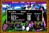 King's Bounty Apple II Creating new character and picking difficulty.