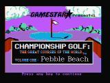 Championship Golf: The Great Courses of the World - Volume One: Pebble Beach DOS Title screen (CGA with composite monitor)