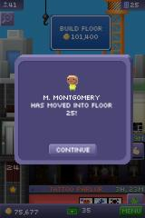 Tiny Tower iPhone Someone just moved in to one of the many apartment floors.