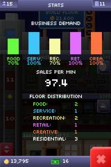 Tiny Tower iPhone Statistics screen showing the sales per minute as well as the demand for different types of shops.