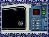 Apollo: Mission to the Moon Windows Phase Two: Docking Phase. The player must steer the lunar module via the cross hairs oin the red window on the right while managing the speed and fuel via the gauges beneath it.