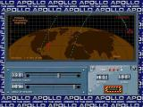Apollo: Mission to the Moon Windows Phase Three: Re-Entry Mode. Here the player adjusts the sliders to acheive a re-entry trajectory that will hit the randomly generated target.