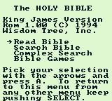 King James Bible For Use On Game Boy Game Boy Main menu